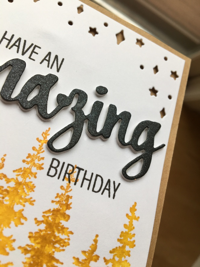 DancesWithHooves Paper Design - masculine tamarack tree birthday